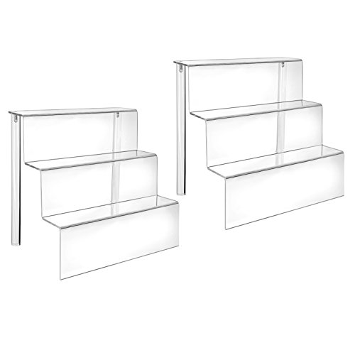 - HESIN Acrylic Risers 9-inch W by 6.25-inch D Three-Tier Acrylic Step Display for Decoration and Organizer (2 Pack)