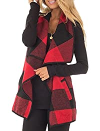 Women's Plaid Sleeveless Open Front Vest Cardigans With Pockets S-2XL