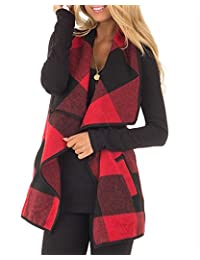 BIUBIU Womens Casual Lapel Open Front Sleeveless Plaid Vest Cardigan with Pocket