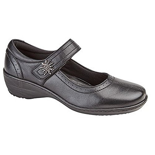 Mod Comfys Womens/Ladies Leather Touch Fastening Bar Shoes Black PzLpKYV