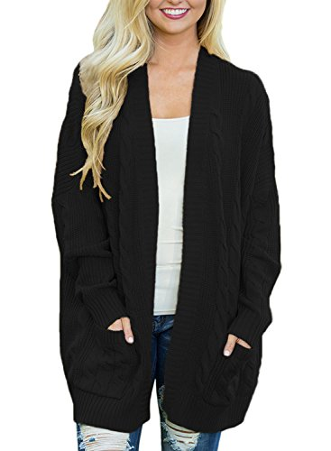 HOTAPEI Women's Casual Open Front Cable Knit Cardigan Long Sleeve Sweater Coat with Pocket Black Medium (Womens Cable Black)