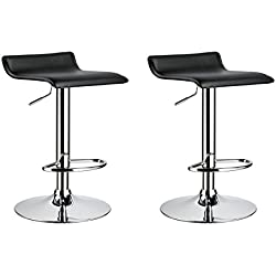 Duhome 2 PCS Contemporary Counter Bar Stool Curved Swivel Adjustable Barstools (black)