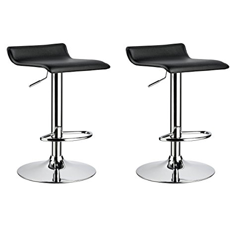 Black Pvc Swivel Seat Stools (Duhome 2 PCS Contemporary Counter Bar Stool Curved Swivel Adjustable Barstools (black))