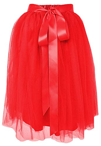 12 22Red A Women's Plussize Tutu Tulle Dancina Knee Length Layered Line Skirt n0wPOk
