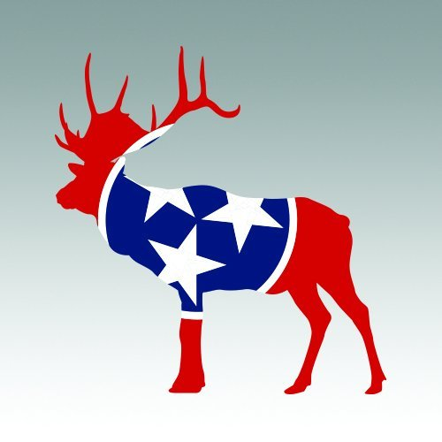 RDW Tennessee Deer Shaped Flag Sticker - Die Cut - Decal TN stag hunting hunter archery antlers 4.00