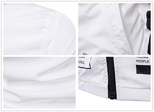 Blanc z Éclair Imprimé Mode Lettre Fermeture Hommes Décontracté Hoodie Qiyun w8Wdg7RxR