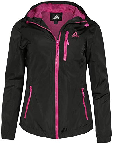 (Reebok Ladies Lightweight Hooded Jacket with Cell Phone Pocket, Black, Size Small')