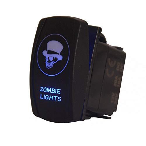 FidgetFidget Waterproof Button Rocker Toggle Switch Blue LED Zombie Light 12V Skull Sales ()