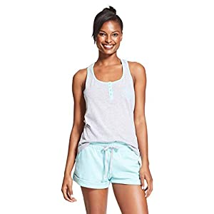 U.S. Polo Assn. Womens 2 Piece Sleeveless Shirt Elastic Waist Shorts Pajama Set Heather Gray/Mint Heather Small