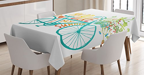- Ambesonne Bicycle Tablecloth, Vintage Summer Bike A Floral Bouquet Cute Vehicle for Transport Illustration, Dining Room Kitchen Rectangular Table Cover, 60 W X 90 L Inches, Turquoise Yellow
