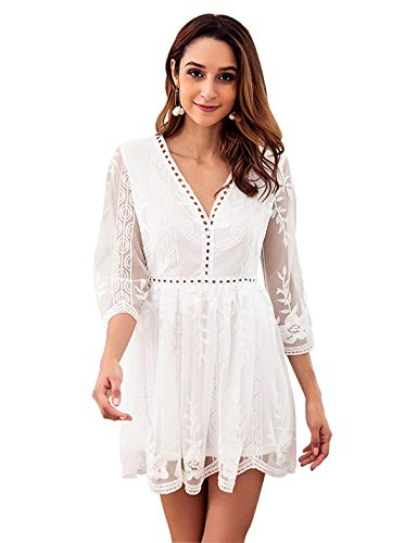(Itemnew Women's Elegant Lace Sheer Backless V-Neck 3/4 Sleeve Flowy Short Party Dress (Asian Small, White) )