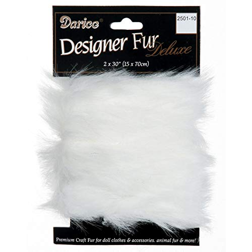 Darice DIY Crafts Luxury Faux Fur Trim White 2 x 30 inches (3-Pack) 2501-10
