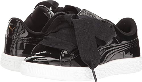 PUMA Unisex-Kid's Basket Heart Patent Sneaker, Black Black, 3.5 M US Big Kid