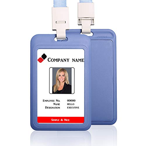HEYDEFO Vertical ID Card Badge Holder with Detachable Lanyard Heavy Duty Hard Plastic Name Tag ID Card Holder for Business Card Offices Supplies (Gray-Blue)