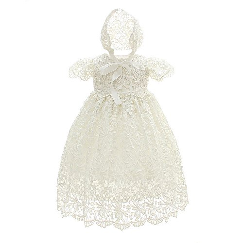 Slowera Baby Girls Lace Dress Christening Baptism Gowns and Bonnet (White, 0-6 Months)