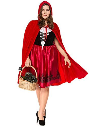 ZLY Women's Red Halloween Cosplay Costume, Adult Parent-Child Cosplay Costume Make up Party Dress (XXL, Mun Red)]()