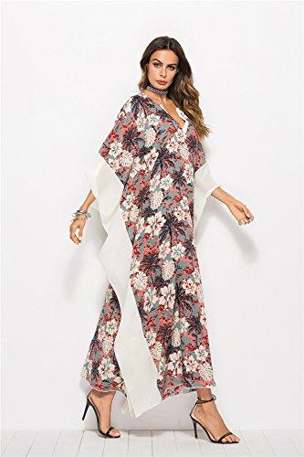 de de Cover Maillot Robe de Vintage plage chauve Up robe V XZP de de soie femmes les Beach fleur mousseline en robe Imprimer bain White Wear Dress Femme cou souris manches 6t5ndq