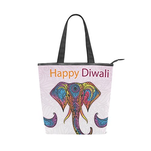 Happy Diwali Elephant Canvas Shopping Tote Bags For Women Handbag by Simple Eleven