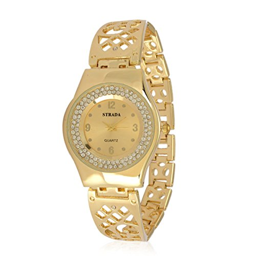 tal Openwork Japanese Movement Watch in Goldtone with Stainless Steel Back (Womens Austrian Crystal Watch)