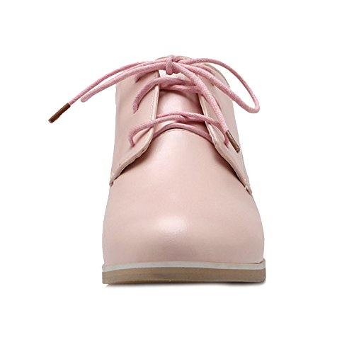 SJJH All Macth Shoes with Pointed Toe and Lace up Women Court Shoes with 4-Colors and Large Size 0-13 UK Pink 6ipvAOu24