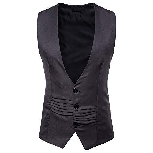TANGSen Mens Autumn Winter Casual Accordion-Like Stylish Blazer Fashion Wrinkles Waistcoat Vest Jacket Top Coat Dark Gray