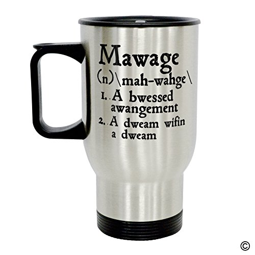 MsMr Coffee Travel Mug - Personalized Photo Travel Mug - Mawage Definition Insulated Stainless Travel Mug with Easy Clean Lid 14 OZ, Silver -