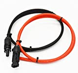 Super Cloud 1 Pair Black + Red 10AWG MC4 Solar Adaptor Cable Solar Panel Extension Cable Wire MC4 Connector Solar Extension Cable with MC4 Female and Male Connectors (3 FT)