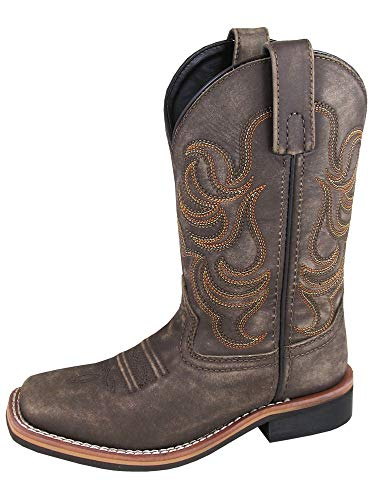 - Smoky Children's Leroy Embroidered Vintage Western Cowboy Boots - Chocolate