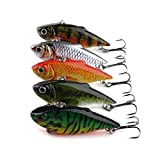 F-blue 6.5CM/8.5G Mini Wobbler Fishing Lure Portable Bait Artificial Bait with Hooks Carp Bass Fishing Tackle Tool 5Pcs/Set