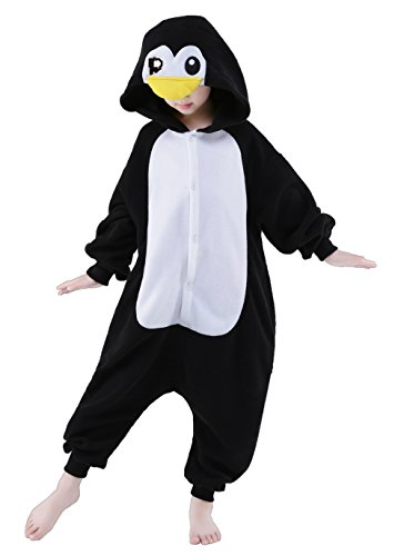 Olasante Unisex Child Kid Black Penguin Cosplay Costume Pajamas Masquerade Costume Jumpsuit (Penguin Santa Costume)
