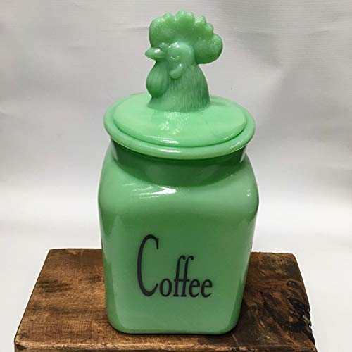 Jade Glass Country Rooster COFFEE Canister/Container Jadeite Jadite - Large Holding Capacity ()
