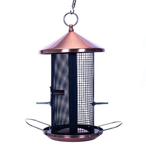 Cottage Garden 12 inch Copper Finish Heavy Duty Mesh Metal 3 Lb. Dual Nut and Seed Bird Feeder (Bird Presents Feeder)
