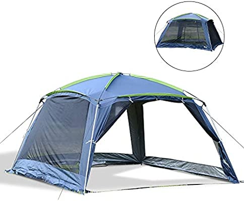 Outsunny Carpa Tipo Avanc/é Plegable para Camping Azul Oscuro Tela Oxford 210D 365x365x220cm