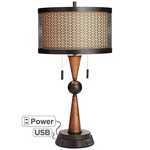 - Hunter Bronze Cherry Wood Table Lamp with USB Workstation Base - Franklin Iron Works