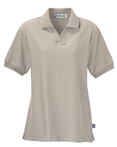 Ladies' Mini Ottoman Polo Shirt, 3X, Desert Sand w/ Desert Sand / White / Pewter