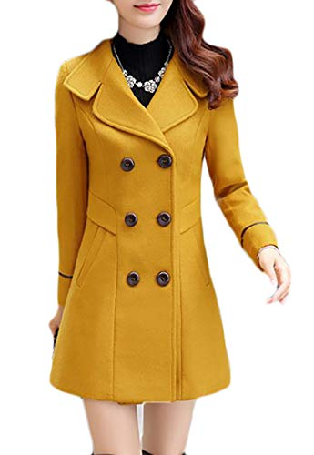 Joe Wenko Womens Double-Breasted Slim Solid Winter Wool-Blend Pea Coats Yellow M