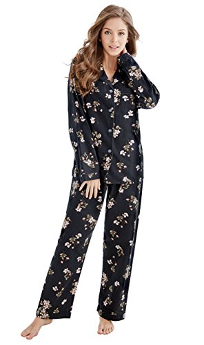 Flannel Pajamas For Women - TONY & CANDICE Women's 100% Cotton Long Sleeve Flannel Pajama Set Sleepwear (Large, Black Flowers)