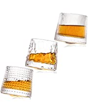 CLCYICEN Crystal Whiskey Glasses - Premium 5 OZ Set of 3, Rotatable Old Fashioned Whiskey Glasses, Perfect Idea for Scotch Lovers Style Glassware for Bourbon, Rum glasses, Bar whiskey glasses