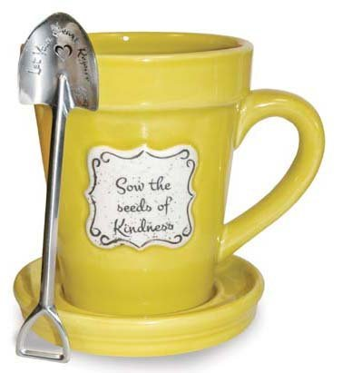 Sow the Seeds of Kindness Yellow Flower Pot 14 Ounce Mug with (Saucer Yellow Flowers)