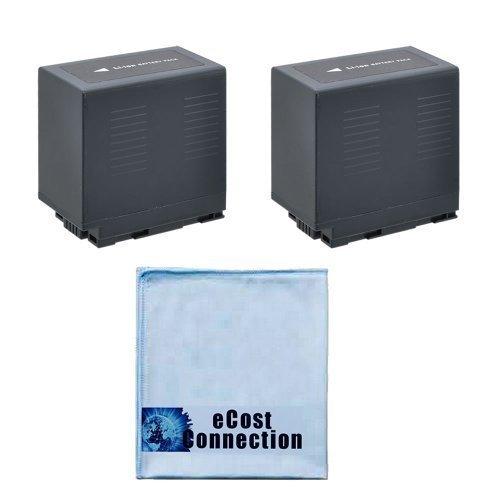 2 CGR-D54 Li-Ion Camcorder Battery for Panasonic AG-3DA1P, AG-DVC7, AG-DVC15, AG-DVX100, AG-DVX1000, HDC-Z10000, NV-C2, NV-C3, NV-C5, NV-C7, NV-DB1, NV-DA1EG, NV-DA1B & eCostConnection Microfiber Clot