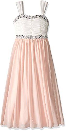 Speechless Girls Plus Size' Maxi Length Shirr Bodice with Jeweled Trim, Pink/Ivory 12.5