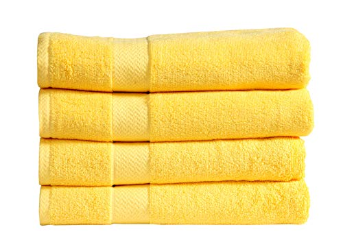 Divine 100% Ringspun Combed Cotton Premium Luxury Extra Large Turkish Bath Towels (30×54 Inch)–Set of 4,Plush,Soft,Absorbent,Machine-Washable,Quick-Dry,Eco-Friendly,SPA/Hotel Quality (Yellow)