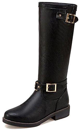 IDIFU Womens Comfy Buckle Low Chunky Heels Pull On Mid Calf Boots Combat Booties Black RHD93