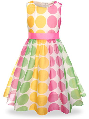 Girls Easter Clothes (Bonny Billy Girls Dress Easter Swing Kids Formal Clothes with Sash Size 12)