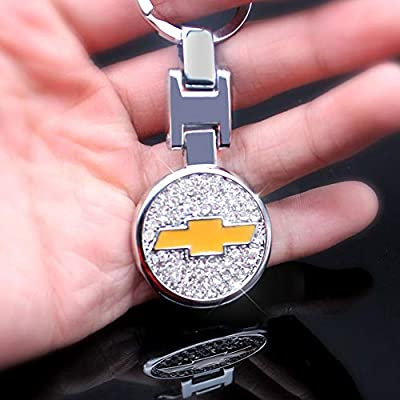 VILLSION 3D Car Keychain Accessories with Shining Crystal, Double Sided Zinc Alloy Metal Keyring Logo Car Key Chain with Gift Box: Automotive