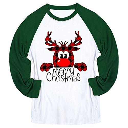 TWGONE Christmas Tops Women Long Sleeve Santa Claus Small Bell Print Blouse