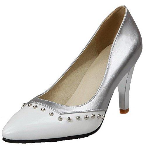 VogueZone009 Damen Hoher Absatz Weiches Material Eingelegt Spitz Zehe Pumps Schuhe Weiß