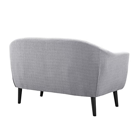 Modway Wit Loveseat in Light Gray - Mid-century modern style Loveseat Solid rubber wood legs Non-marking foot caps - sofas-couches, living-room-furniture, living-room - 41ynZDz3VbL. SS570  -