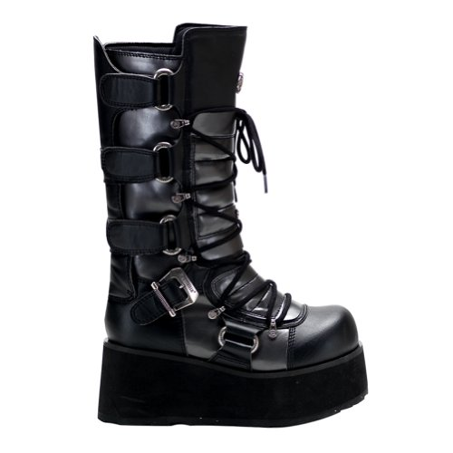 3 1/4 Wedge Boots MENS SIZING Calf Boots Lace Up Buckles Combat Boots Size: 11