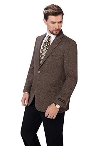 P&L Men's Premium Wool Blend Business Blazer Dress Suit Jacket Brown - Herringbone Button Two Wool
